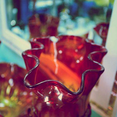Glass Ornaments in the Stevenage Glass showroom